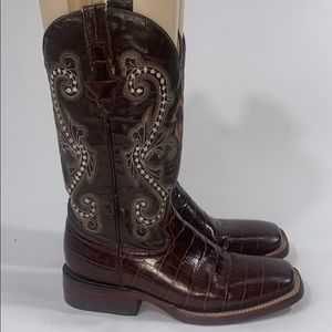 Ferrini chocolate brown Gator boots size 6.5